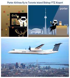 De Havilland Canada Dash 8 of Porter Airlines. Toronto Downtown in background. Porter Airlines, Toronto Island, Vintage Airline, Public Transport, Airplanes, Transportation, Aircraft, Advertising, Canada