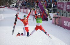 Gold medalists Marit Bjoergen (R) of Norway and Ingvild Flugstad Oestberg of Norway celebrate after the Women's Team Sprint Classic Final (c) Getty Images Wide World, Cross Country Skiing, World Of Sports, Lund, Norway, Olympics, Life Is Good, Train, Celebrities