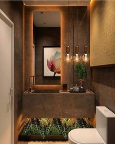 Luxurious lavabo with a beautiful composition! Interior Decorating Styles, Home Decor Trends, Bathroom Design Luxury, Modern Bathroom, Brown Bathroom, 1950s Decor, Interior Design Boards, Toilet Design, Traditional Decor