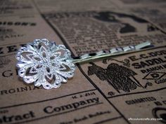 10 Silver Tone Filigree Hair Bobby Pins. Starting at $5 on Tophatter.com!