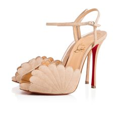 """""""Botticella"""" takes inspiration from the Sandro Botticelli masterpiece, """"The Birth of Venus"""". This 120mm sandal in nu suede with shell detail stitching is a Spring/Summer look of mythic proportions."""