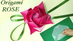 """Fukuyama Rose"" is designed by Fukuyama Tech High. Best origami tutorial - perfect origami rose for Mother's day, Woman's day, Easter or birthd. Origami Rose, Origami Star Box, Origami Gift Bag, Diy Valentine's Hearts, Origami Christmas Star, Valentines Gift Box, Useful Origami, Easy Origami, 3d Origami"
