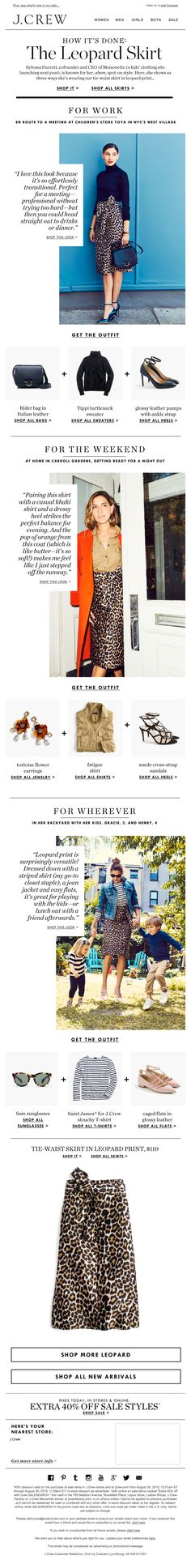 This is a JCrew email -- excellent layout -like you're reading a magazine in your inbox + you can shop the look right here
