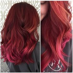 Red hair that melts into soft peaches and pinks!