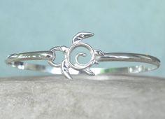 Turtle Bracelet - Sea Turtle Bracelet - Sterling Silver Sea Turtle Bangle Hook Bracelet - Unique Handcrafted Turtle Jewelry - Totem Turtle. $69.00, via Etsy.