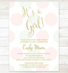 Hey i found this really awesome etsy listing at httpsetsy pink mint gold baby girl shower invitation pink mint gold glitter baby shower invite polka dots printable shower digital invite filmwisefo