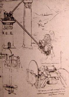 Leonardo Da Vinci-Zeichnungen von Maschinen