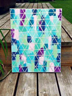 Masking tape and paint wall art canvas DIY