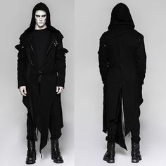 Men Black Hooded Gothic Vampire Fashion Trench Coat Vest Outerwear SKU-11401127 www.1planet7billionworlds.com