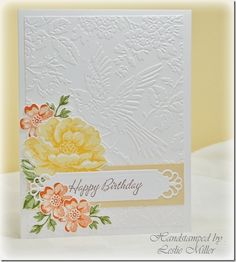 Stamp: Stippled Blossoms, Warmest Regards Colors: Barely Banana/Summer Sun Apricot Appeal/Pumpkin Pie Certainly Celery/Old Olive Tools: Anna Griffin embossing folder Aviary, Spellbinders Divine Eloquence