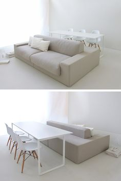 Arkimera have designed Layout Isolagiorno, a double-sided sofa, that is a normal sofa on one side, and bench seating for the dining table, on the other. It's a solution designed for homes that don't have much space.