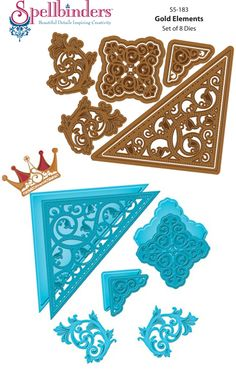 JustRite Papercraft | Spellbinders Imperial Gold die templates | Gold Elements|