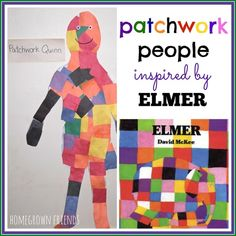 such a fun project patchwork people inspired by Elmer by David McKee