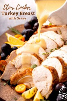 Tender and juicy Slow Cooker Turkey Breast seasoned to perfection and served with the best gravy made from the tasty drippings. This easy to make Crock Pot Turkey Breast makes a great Thanksgiving recipe for small gatherings and for weeknight meals. #slowcooker #crockpot #turkey #gravy Pork Recipes For Dinner, Italian Dinner Recipes, Turkey Recipes, Great Recipes, Favorite Recipes, Lunch Recipes, Yummy Recipes, Yummy Food, Tasty