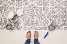 DIY Cement Floor Makeover - Stencil Stories Cutting Edge Stencils, Stenciled Floor, Floor Finishes, Cement, Tile Floor, Tile Stencils, Flooring, Outdoor Living, Diy