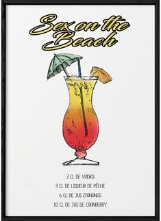 Cocktail Menu, Cocktail Recipes, Cocktail Tequila Sunrise, Sex On The Beach Recipe, Happy Drink, Beach Cocktails, Alcohol Drink Recipes, Orange Crush, Refreshing Drinks