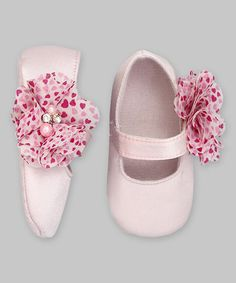 Look what I found on #zulily! Pink Chiffon Hearts Flower Mary Jane Booties by Voilà Fancies #zulilyfinds
