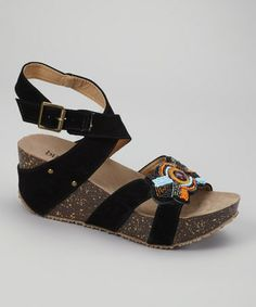 Look what I found on #zulily! Black Lolo Wedge Sandal by Bucco #zulilyfinds