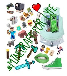 """#Minecraft"" by zoebop on Polyvore featuring Boohoo, Converse, Mattel and WALL"