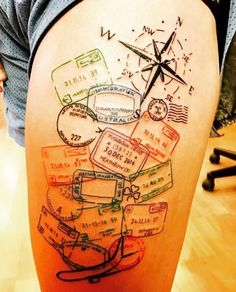 Travel-themed thigh piece by Marc Nelson