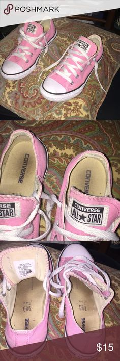 Converse for women or kid Size 2 Pink, lovingly used/ I wear a size 5 & these fit, need new laces to look cuter Converse Shoes Sneakers