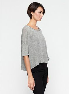 Ballet Neck 3/4-Sleeve Short Box-Top in Rustic Linen Cotton