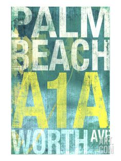 Palm Beach 1 Giclee Print by Cory Steffen at Art.com Beach Wall Decor, Beach Cottage Decor, Coastal Decor, Coastal Living, Vintage Beach Signs, Beach Print, Home Decor Shops, Tropical Decor, Beach Cottages