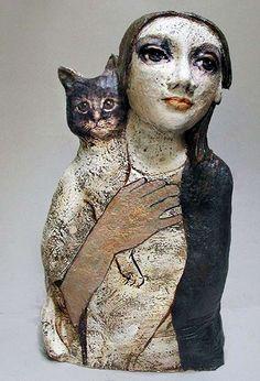 Woman and cat – sculpture – 13 Teresa Gironés Villanua – busts – mulher e gato – Keramik figura – ceramics