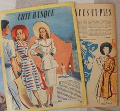 Set of 4 fashion magazines Marie Claire, Paris summer and fall 1946  French fashion news, dresses, skirts, knitting, patterns