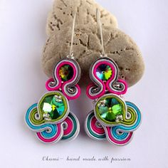 colorful wedding soutache earrings www.okami-handmade.blogspot.com