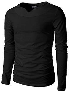 H2H Men's Active Slim Fit Long Sleeve Notch V-neck T-shir... http://a.co/8he2pbM