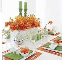 Orange green fall wedding table ideas- paint old candle sticks green and accent with miniature pumpkins as favors around the table.