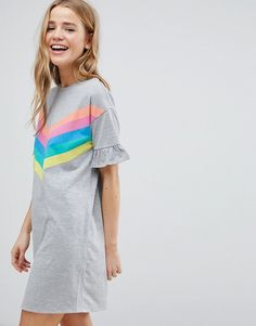 T-Shirt Dress with Frill Cuffs and Rainbow Stripes