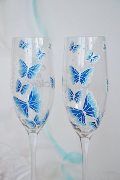 Hand painted Wedding Toasting Flutes Set of 2 Personalized Champagne glasses White and blue Butterflies love flight Sweet 16 Decorations, Quince Decorations, Quinceanera Decorations, Cinderella Quinceanera Themes, Quinceanera Planning, Quinceanera Ideas, Quinceanera Dresses, Quince Themes, Quince Ideas