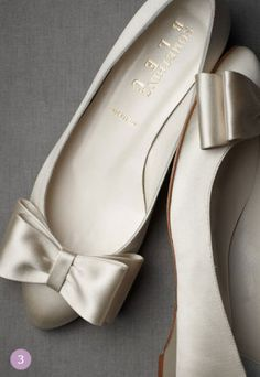 Beautiful Satin Bowtie Flats.  Comfortable choice for a bride!!