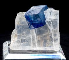 Blue Halite Cube in Clear Halite - Mineral Specimen from Carlsbad, New Mexico
