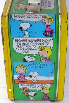 vintage lunch boxes | Vintage 1960s Peanuts Metal Lunch Box | Charlie Brown