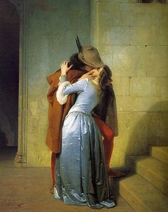 Francesco Hayez. The Kiss has been regarded as a symbol of Italian Romanticism. The painting represents a couple from the Middle Ages, embracing while they kiss each other. It is among the most passionate and intense representations of a kiss in the history of western art.