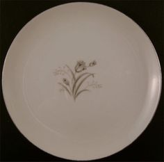 "Creative Royal Elegance Bread & Butter Gray Rose 6 3/8"" Small Plate Silver China"