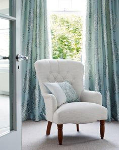 Shades of Blue Collection from Laura Ashley Australia Floor Wallpaper, Window Coverings, Window Treatments, Duck Egg Blue, Home Collections, Reading Areas, Reading Chairs, Home Renovation, Furniture Decor