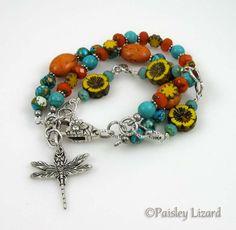 Boho Dragonfly bracelet by PaisleyLizardDesigns