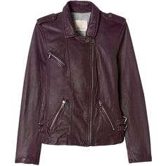 Washed Leather Jacket ($359) ❤ liked on Polyvore featuring outerwear, jackets, purple leather jacket, purple jacket, purple biker jacket, genuine leather jackets and leather motorcycle jacket