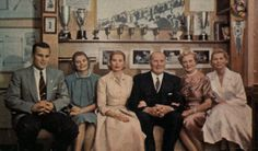 """gracescans: """" Philadelphia, January 1956: Jack Kelly poses for a portrait in his study with his wife and grown children. He and Mrs. Kelly had just announced the engagement of their middle daughter, Grace, to the Prince of Monaco. From left to right..."""