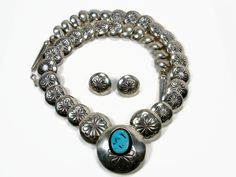 Navajo Sterling Turquoise Necklace Signed Thomas by VintageGemz