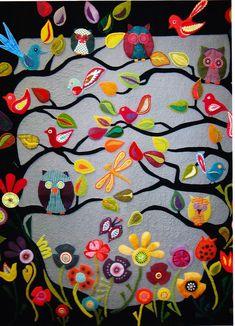 Hooterville - fabulous wool applique quilt  pattern, via Etsy.