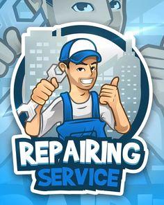 Repairing Service - Mascot & Esport Logo by aqrstudio on Envato Elements Mascot Design, Logo Design, Handyman Logo, Brand Character, Character Design, Business Cartoons, Esports Logo, Cartoon Logo, Service Logo