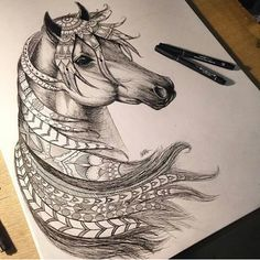 I've never thought of contrasting a realistically detailed animal with cartoon-u zentangle.I kind of like it. Pretty Drawings, Cool Drawings, Horse Drawings, Animal Drawings, Zentangle Drawings, Zentangles, Drawn Art, Equine Art, Horse Art