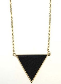Black Snakeskin Triangle Gold Long Chain Necklace
