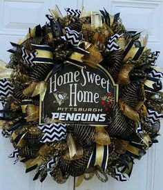 Pittsburgh Penguins Hockey Wreath-Hockey by StudioWhimsybyBabs
