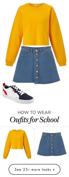 """""""school outfit 1"""" by livigillespie on Polyvore featuring Miss Selfridge, Monki and Tommy Hilfiger"""